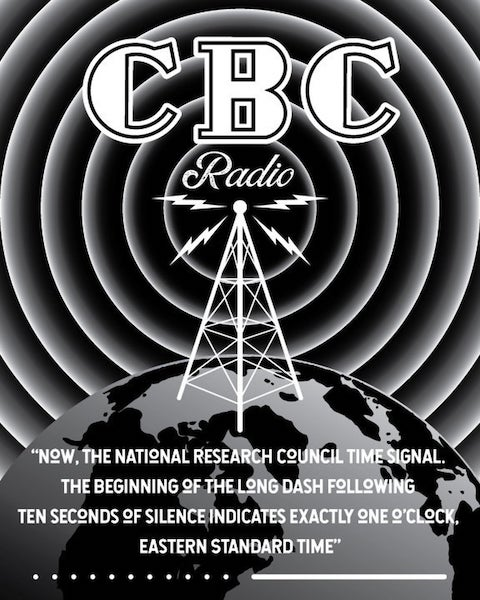 Reproduction of advertisement for Canadian Broadcasting Company's National Research Council Time Signal, Canada's 'longest running radio program.'